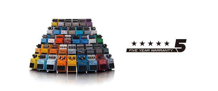 ローランド ギター・エフェクターの「BOSSコンパクト・ペダル・シリーズ」全モデルの5年保証を開始